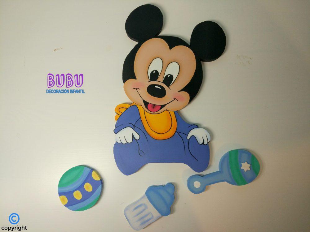 4e84e24d1 Siluetas infantiles Mickey con complementos   BUBU Decoración Infantil ®